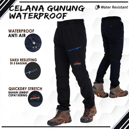 Foto Produk Celana Gunung Waterproof Panjang Pria Outdoor Hiking Quickdry Stretch - M, Hitam Polos dari Antares Star