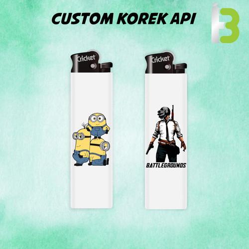 Foto Produk Custom Cricket Korek Api Lighter Promosi Cetak UV Print Warna - Putih 1 Sisi dari MitraBotol