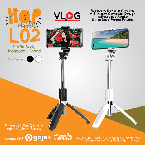 Foto Produk L02 Selfie Stick Tongsis 3in1 Tripod HP with Wireless Remote Shutter - BLACK dari HOP Market