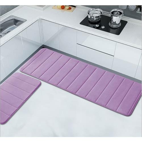 Foto Produk Memory Foam Mat SET Keset Kaki Rumah Dapur Pintu Kamar Anti Selip - Purple dari Le Carre