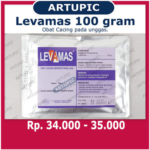 Foto Produk Levamas 100 gram Obat Cacing Hewan Unggas Ayam Bebek Puyuh Levamisole dari ArtupicPeralatanPeternak