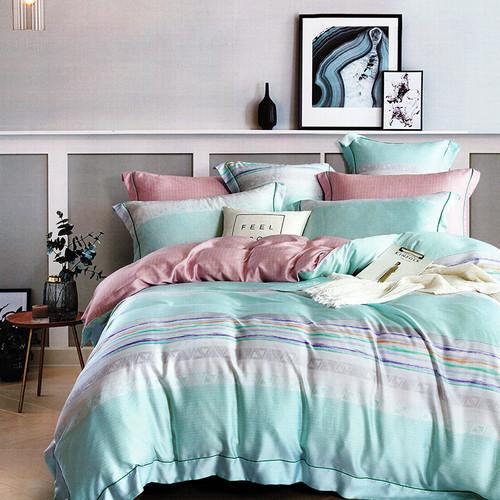 Foto Produk Sleep Buddy Set Sprei Mint Line Tencel - Queen Size dari Sleep Buddy Bedding