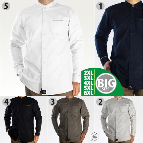 Foto Produk Kemeja Koko Pria Lengan Panjang Muslim Kemko Big Size 2XL 3XL Casual - Putih, 2XL dari BAD-STORE