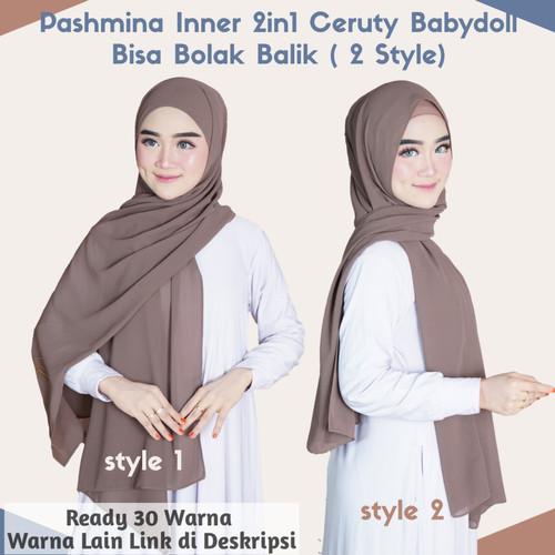 Foto Produk Pashmina Inner 2in1 Ceruty Babydoll (PART 2) - 2in1_Nude dari Raisa Factory