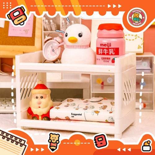 Foto Produk Rak Mini Desktop Organizer 2 Tingkat Tempat Alat Tulis OB0020 - Putih dari Meowmi Fancy Gift Shop