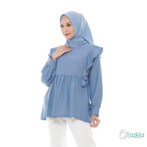Foto Produk Atasan Wanita Muslim | Adila Blouse Biru | S M L XL | Tazkia Hijab - M dari Tazkia Hijab Store