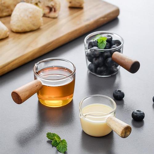 Foto Produk MINI GLASS MILK COFFEE SUGAR CUP HANDLE TEMPAT MANGKOK GULA SUSU KACA - S dari ABEILLE HOME & PROPS.