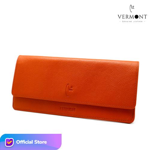 Foto Produk Dompet Panjang Wanita Branded Kulit Asli V83 - P007 Original Leather - Luxury Orange dari VERMONT LEATHER