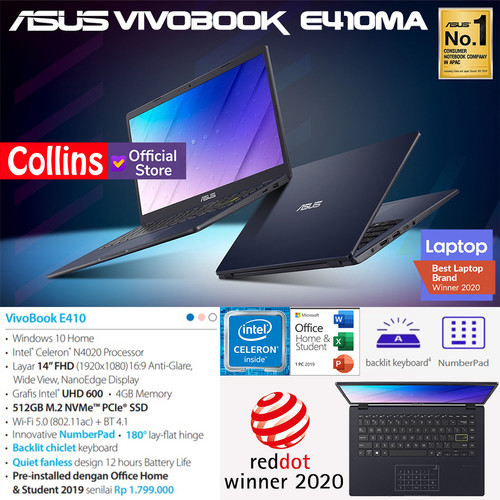 "Foto Produk LAPTOP ASUS E410MA - INTEL N4020 DDR4 4GB 512GB SSD INTEL UHD 14"" W10 dari Collins Official"