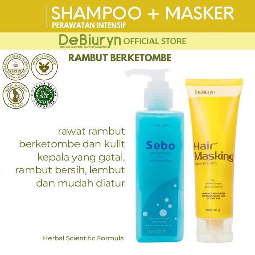 Foto Produk DeBiuryn Sebo Shampoo + Hair Masking Improver Cream   Rambut Ketombe dari Debiuryn Dermacosmetics