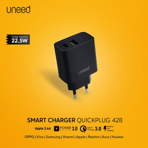 Foto Produk UNEED Dual Smart Charger QC 3.0, PD 3.0, AFC - UCH428 - Hitam dari Uneed Indonesia