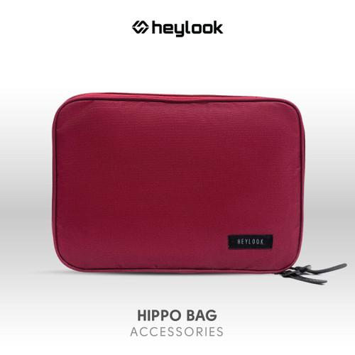 Foto Produk TAS HIPPO BAG CLUTCH PRIA WANITA ORGANIZER BAG POUCH CASE CABLE - Maroon dari Heylook Official