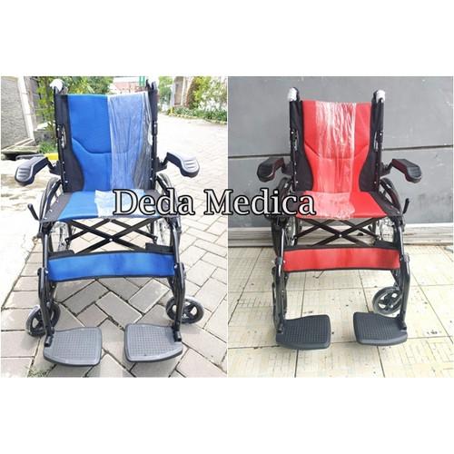 Foto Produk Kursi Roda Travelling Umroh Haji 868 Sella + Rem Pendorong - Biru dari Deda Medica