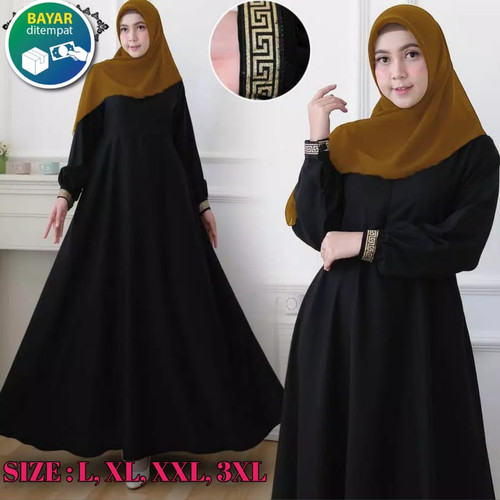 Foto Produk Gamis Hitam syari Gamis terbaru 2021 gamis hitam polos - L, Hitam dari kahfy_store