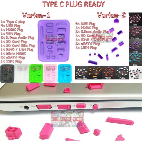 Foto Produk Dust Plug Laptop / Penutup Port Laptop / Anti Debu Universal - transparan, extra type C dari Beji Depok Store