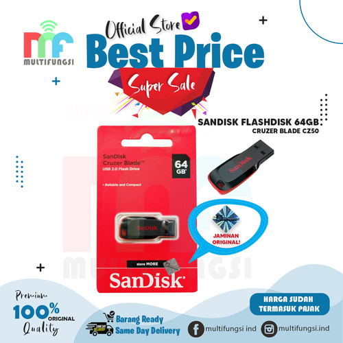 Foto Produk ORIGINAL SANDISK FLASHDISK 64GB CRUZER BLADE CZ50 USB FLASH DISK 64 GB dari Multifungsi Online