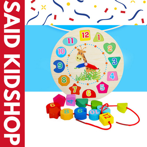 Foto Produk Wooden Puzzle Digital Geometry Clock / Puzzle Kayu Mainan Edukasi Jam dari said_kidsshop