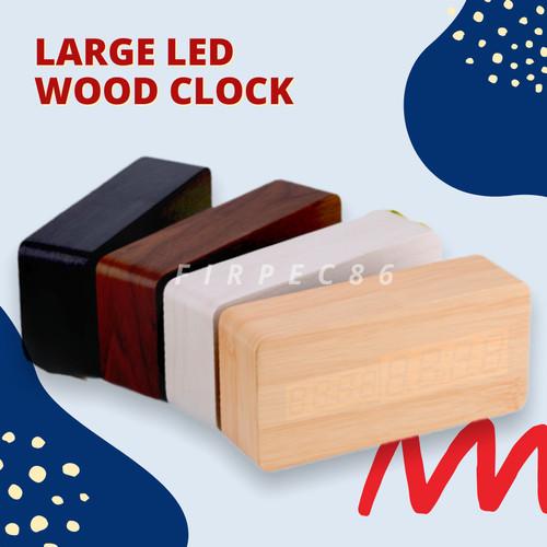 Foto Produk LARGE LED WOOD CLOCK /JAM WEKER KAYU - Hitam LED Putih dari Firpec86