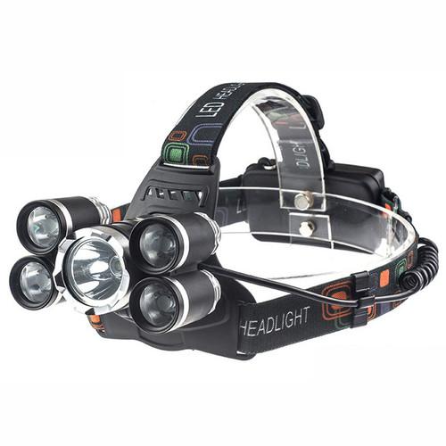 Foto Produk PAKET KOMPLIT Senter kepala 5 LED / Headlamp Cree XML T6 4XPE - 16rb Lumens dari Sungai Kuning