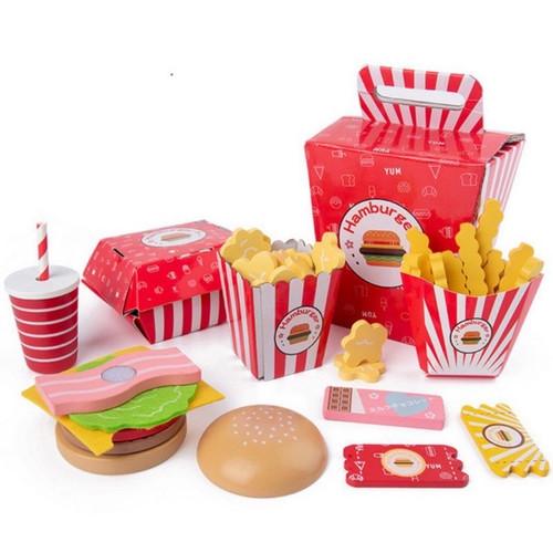 Foto Produk Hamburger Fast Food Wooden Toy - Mainan Kayu Anak Edukasi Masak Kado dari My Own Flashcards