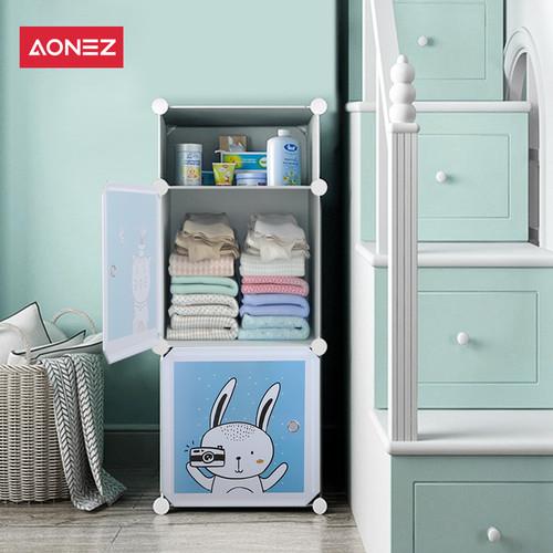 Foto Produk Aonez Lemari Pakaian Anak / Lemari Plastik / Wardrobe Anak 2/3/8 Slots - Putih, 2 slot dari AONEZ Official Store