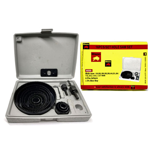 Foto Produk BISON Hole Saw Set 16 Pcs - Mata Bor Kayu Hidroponik Holesaw Kit dari Mollar Official