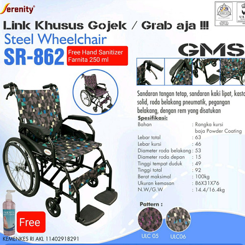 Foto Produk Kursi Roda Traveling Serenity type SR - 862 Black / Kursi Roda Travel dari General Medical Supplier