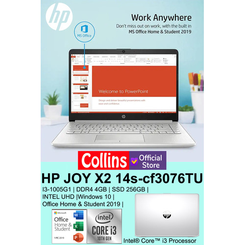 "Foto Produk LAPTOP HP JOY X2 14s-cf3076TU I3-1005G1 DDR4 4GB 256GB UHD 14"" W10 OHS dari Collins Official"