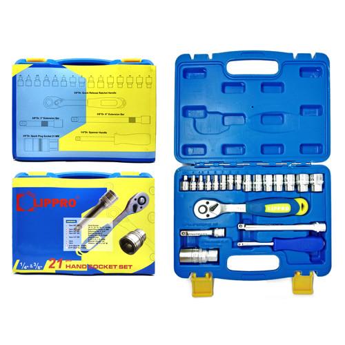 Foto Produk LIPPRO KUNCI SOK SET 21 PCS 6 PT BOX PLASTIK 1-4 & 3-8 DR SOCKET SET dari Lippro Tools