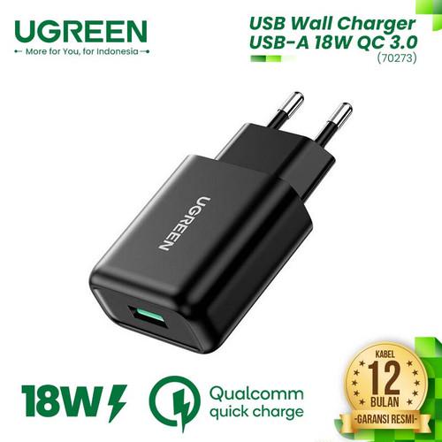 Foto Produk UGREEN USB Wall Charger USB-A 18W QC 3.0 - CD122 - Black1 dari UGREEN Authorized Store