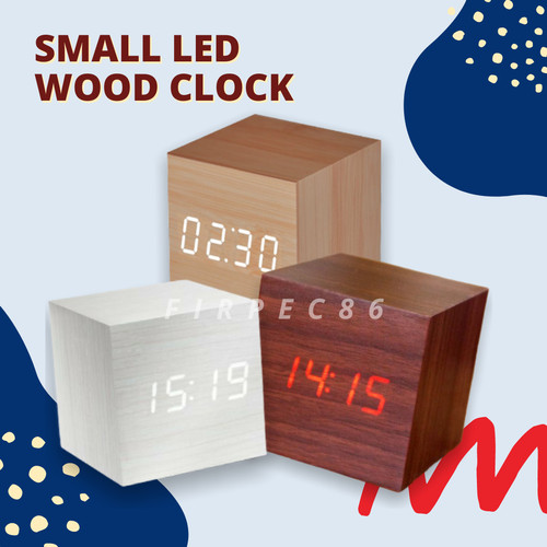 Foto Produk JAM WEKER KAYU DIGITAL / LED WOOD CLOCK SMALL - Hitam LED MERAH dari Firpec86
