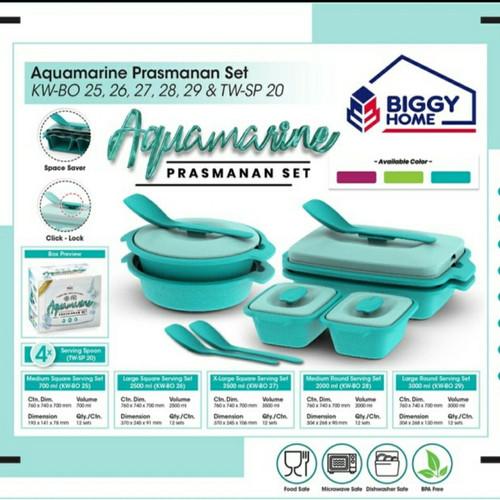 Foto Produk Prasmanan Set - Kotak#tupperware set sayur lauk Aquamarine Biggy set - Toska dari Baby-B Shop