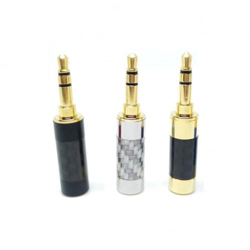 Foto Produk Straight Carbon Fiber DIY Jack 3.5mm Replacement Audio Plug - Rhodium dari Onebest Choice