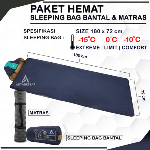 Foto Produk PAKET HEMAT Sleeping Bag Bantal SB Ultralight Plus Matras Camping dari Antares Star