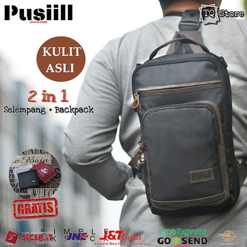 Foto Produk Tas Selempang Pria Kulit Asli Besar Pusiill Original Sling Bag Keren - Hitam dari TQSTORE9