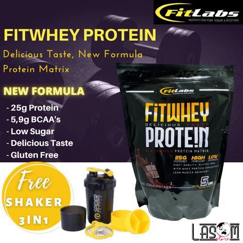 Foto Produk Fitlabs FIT Labs Whey Protein Pembentukan Otot Fitness Gym Diet 5lb dari LASOM store