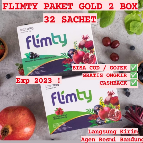 Foto Produk paket GOLD FLIMTY 2 BOX(32 SACHET) Minuan berserar fiber BPOM dari gorillasupplement