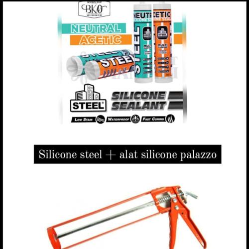 Foto Produk PAKET STEEL SILICONE ASAM + ALAT SILICONE PALAZZO - clear dari BKO Wooden shop