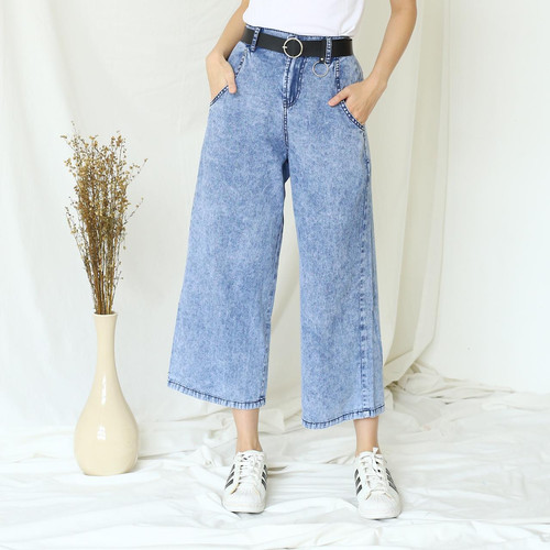 Foto Produk MYREDO- Celana Kulot Jeans Wanita Snow Black Adara - Snow Blue dari myredo