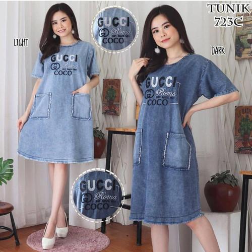 Foto Produk baju Wanita Dress Jeans Bordir Terbaru - light, allsize ld 110 dari G i o~jeans
