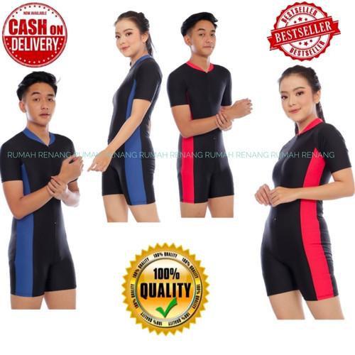 Foto Produk Ready stock.., Baju renang Pria/wanita dewasa terusan unisex Ukuran M - KOMBINASI MERAH, M dari Rumah Renang