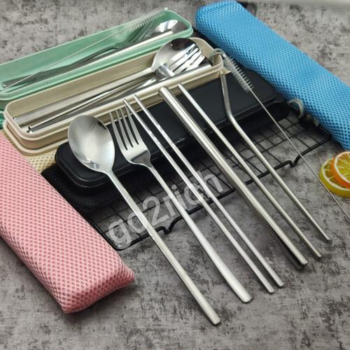 Foto Produk Sendok Korea Set Garpu Sumpit Korea Sujeo Sedotan Stainless Alat Makan - Kotak Krem dari go2rich