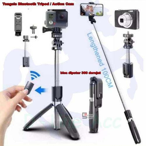 Foto Produk L02 Selfie Stick Tongsis Tripod 4 in 1 with Wireless Remote Shutter - Hitam dari D-Line Acc