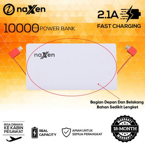 Foto Produk Naxen Slim Power Bank Real Capacity 10000mAh 2 USB Port with Kabel - Putih dari Naxen Official Store