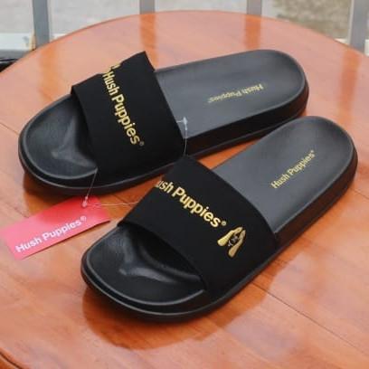 Foto Produk Sandal Slide Hush Puppies Black Varcity Gold Sendal Slop Pria Original - Black V-Gold, 39 dari hallo_fashion