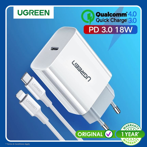 Foto Produk Ugreen Combo Charger+Cable Type C Lightning QC PD 36w WHITE- Com60450 dari Ugreen ID
