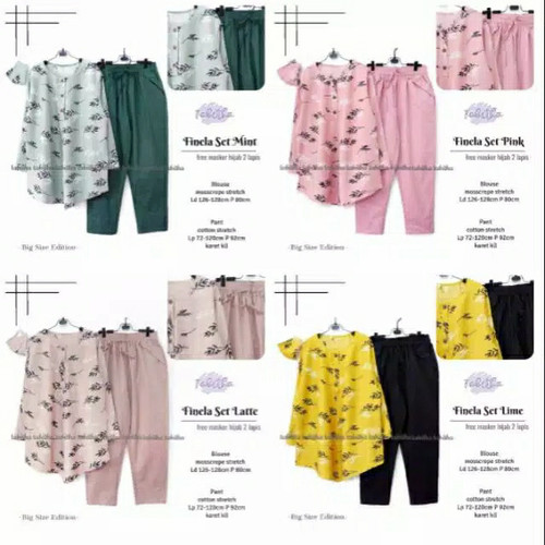 Foto Produk New Finela Set Setelan Celana Wanita Baju Kerja Jumbo Terbaru dari Ilyassa Shop