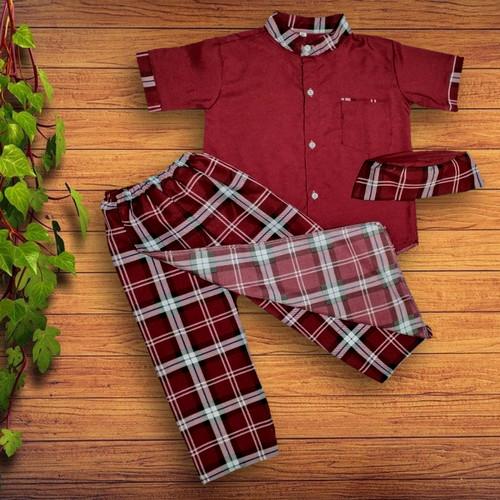 Foto Produk Sarkoci Baju muslim anak cele 2-5 tahun - Maroon, M dari YKS_STORE01