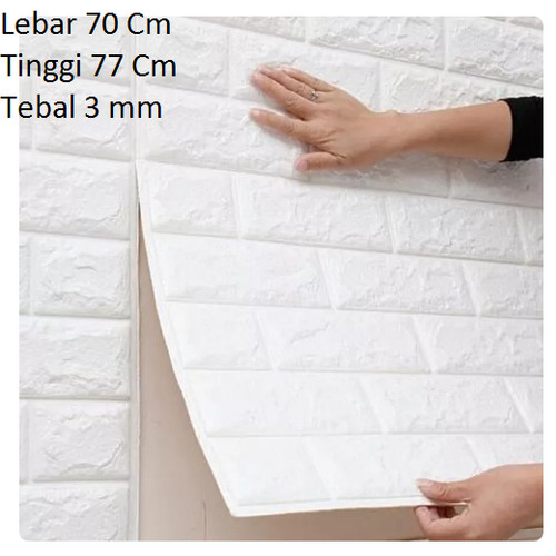 Foto Produk WALLPAPER 3D BRICK FOAM WHITE WALLPAPER DINDING BATU BATA PUTIH - - BATA 3 MM dari oganganter