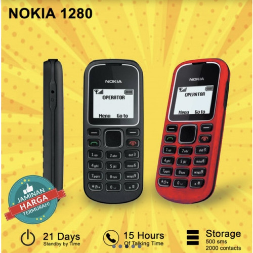 Foto Produk Handphone Nokia Hp Jadul 1280 Sim GSM Bahasa Indonesia New Refurbish dari Victory_id